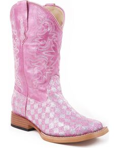 Roper Kid's Checkered Western Boots, Pink, hi-res