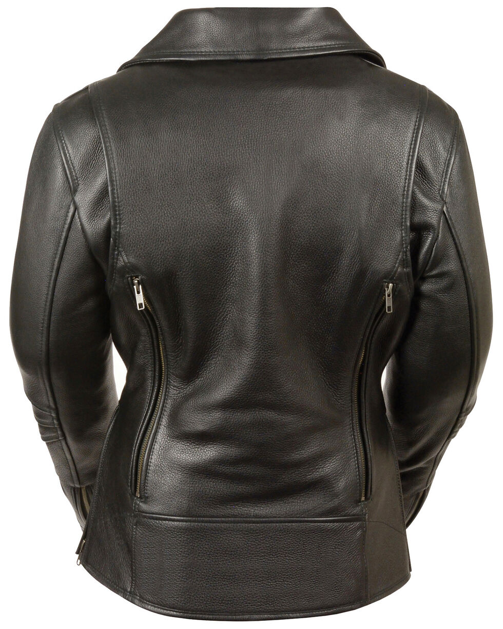 Milwaukee Leather Women's Long Length Vented Biker Jacket, Black, hi-res