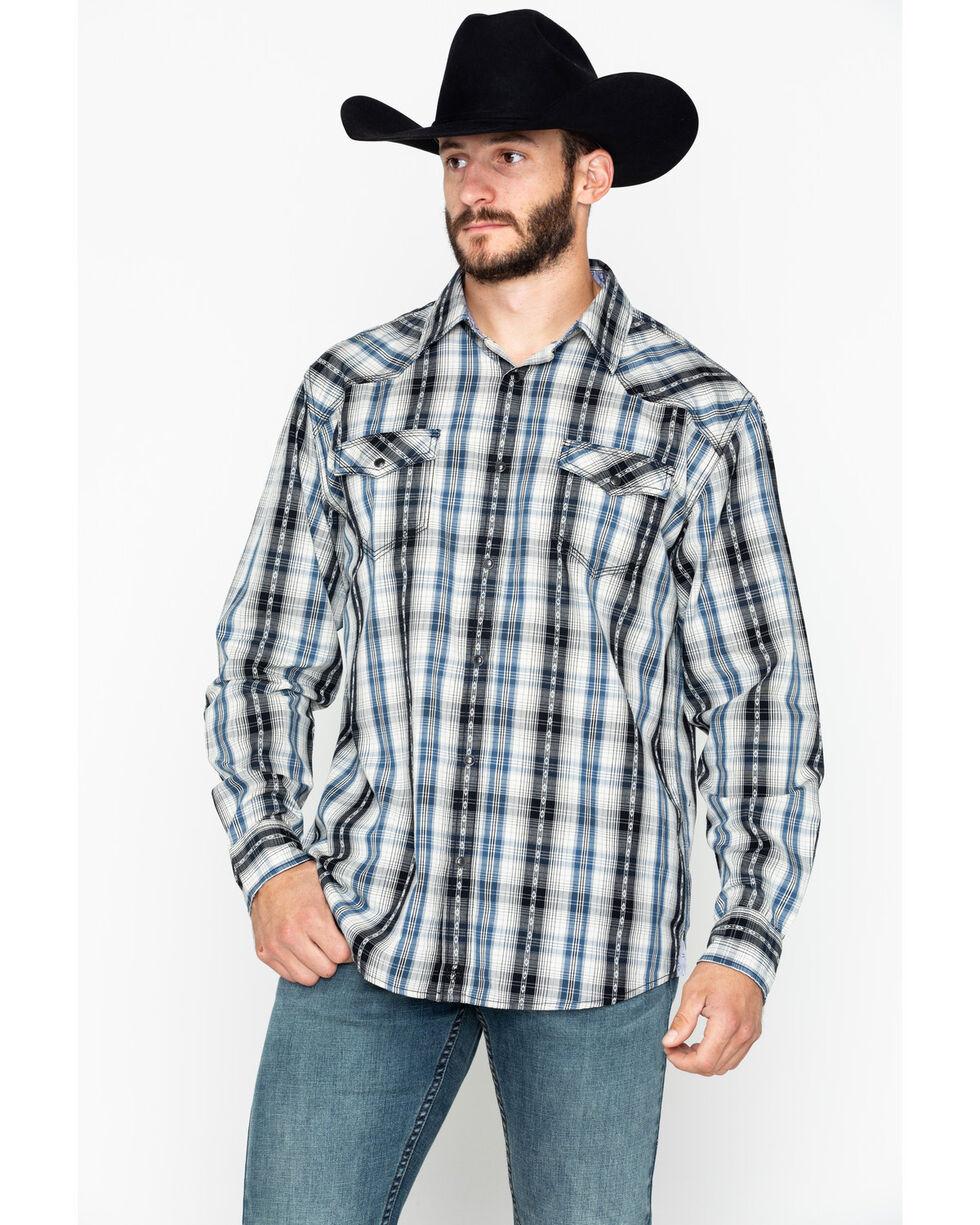 Moonshine Spirit Men's Plaid Long Sleeve Hound Dog Shirt , Blue, hi-res