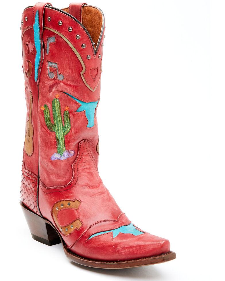 Dan Post Women's Red Dreams Western Boots - Snip Toe, Red, hi-res