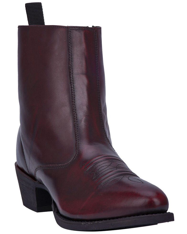 Laredo Men's Antique Black Cherry Side Zipper Western Boots - Round Toe, Black Cherry, hi-res