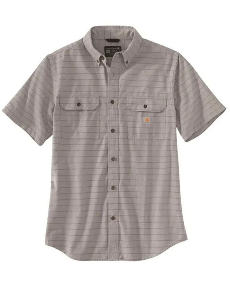 Carhartt Men's Vapor Grey Plaid Short Sleeve Button-Down Work Shirt , Grey, hi-res