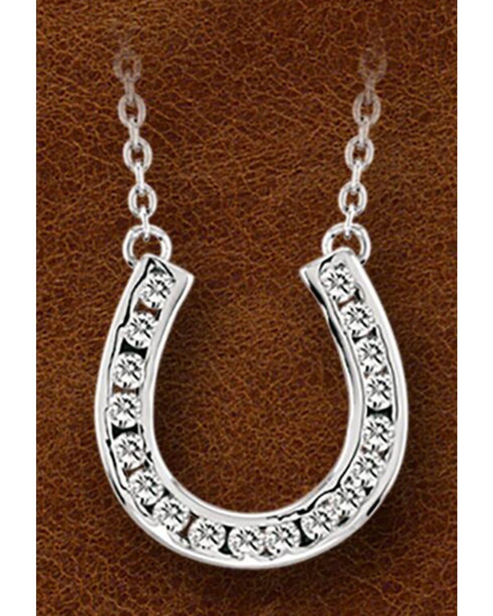 Kelly Herd Sterling Silver Horseshoe Charm Necklace, Silver, hi-res