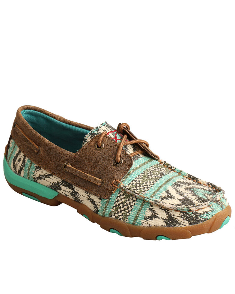 Twisted X Women's Multicolored Canvas Boat Shoes - Moc Toe, Multi, hi-res