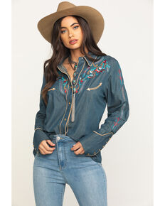 Scully Women's Multi-Color Embroidered Rodeo Long Sleeve Western Shirt , Blue, hi-res