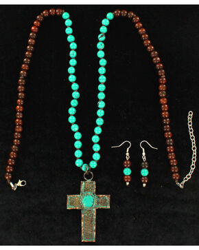 Blazin Roxx Women's Patina Cross Jewelry Set , Rust Copper, hi-res