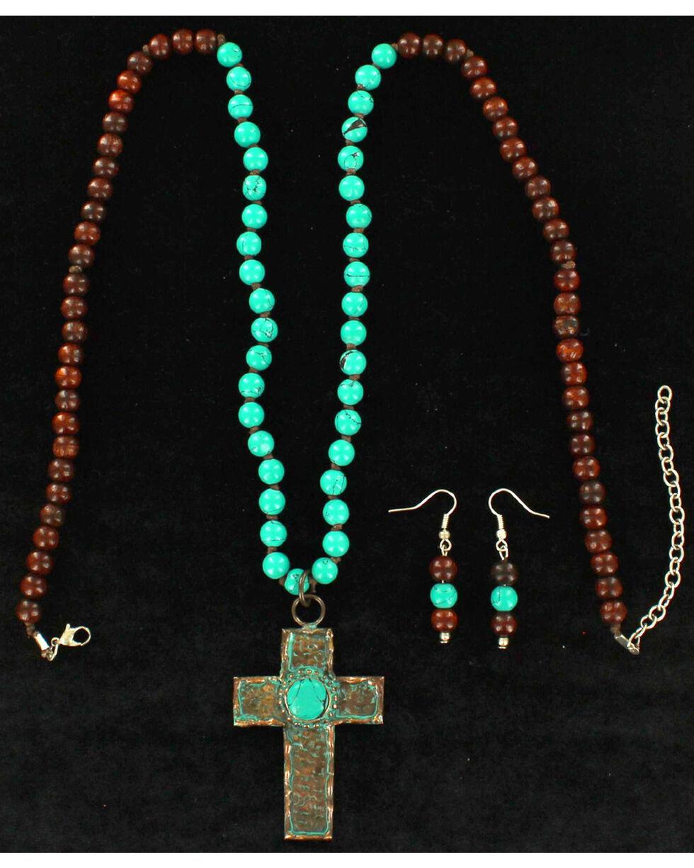 Blazin Roxx Women's Patina Cross Jewelry Set , Rust Copper, hi-res