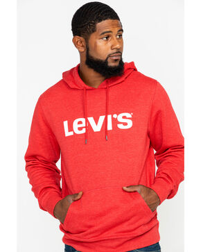 Levis Men's Burndlen Logo Graphic Pullover Hoodie , Dark Red, hi-res