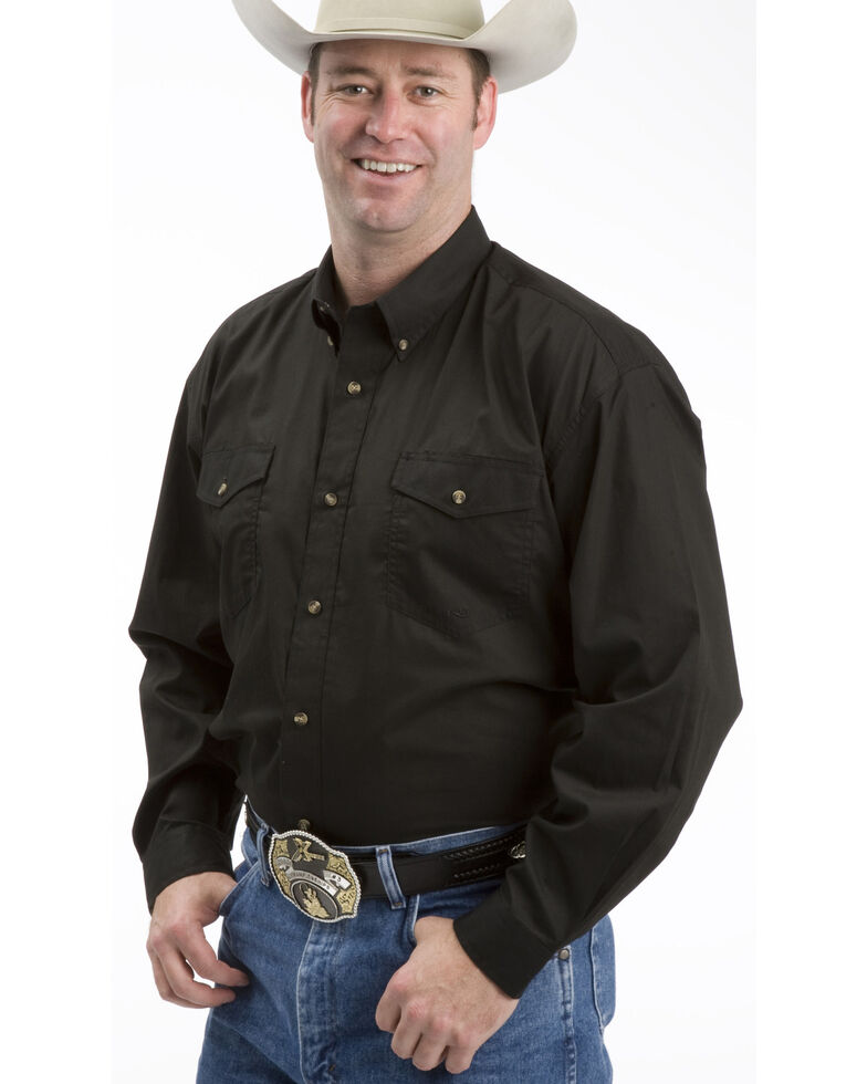 Roper Men's Solid Amarillo Collection Long Sleeve Western Shirt, Black, hi-res