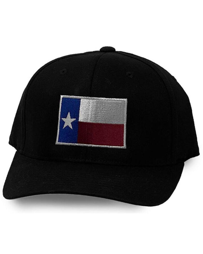 Oil Field Hats Men's Black Texas Flag Patch Ball Cap , Charcoal, hi-res