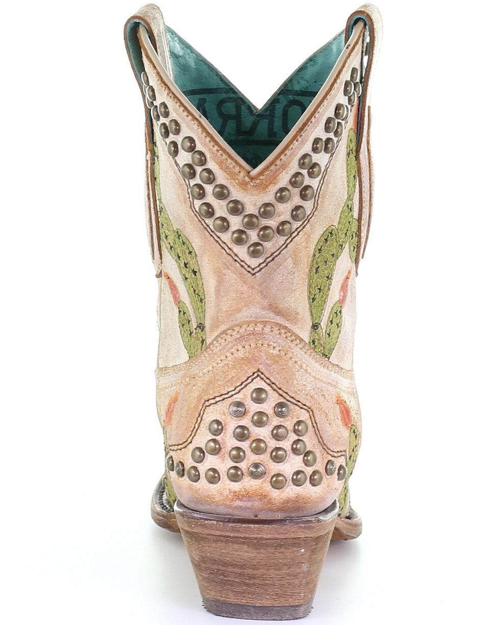 Corral Women's Nopal Embroidery Western Booties - Snip Toe, Brown, hi-res