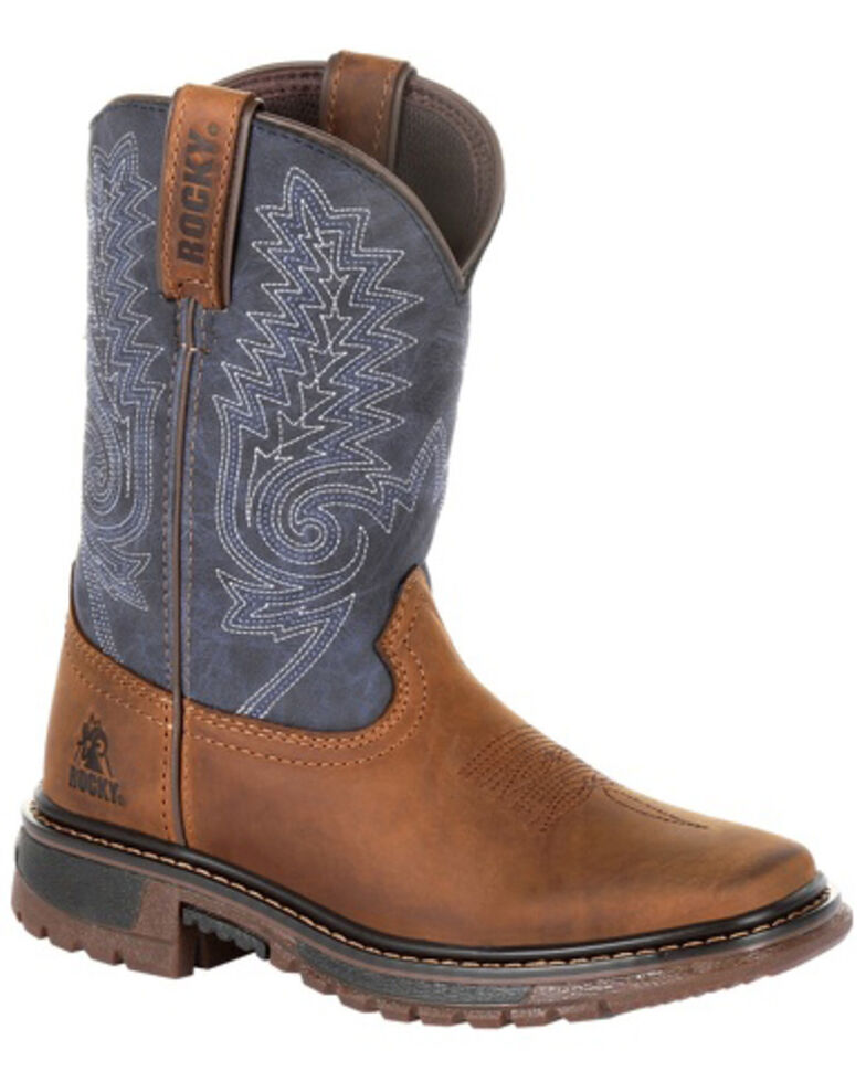 Rocky Boys' Ride FLX Western Boots - Square Toe, Brown, hi-res