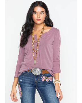 Ariat Women's Plum Henley Knit Top , Mauve, hi-res