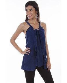 Cantina by Scully Women's Rope Strap Blouse, Dark Blue, hi-res