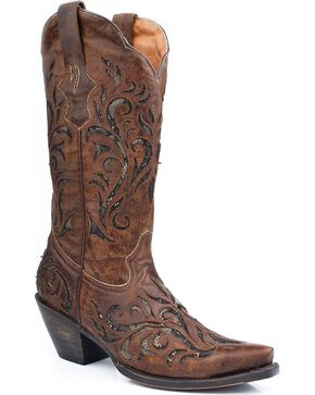 Stetson Women's Distressed Underlay Western Boots, Brown, hi-res