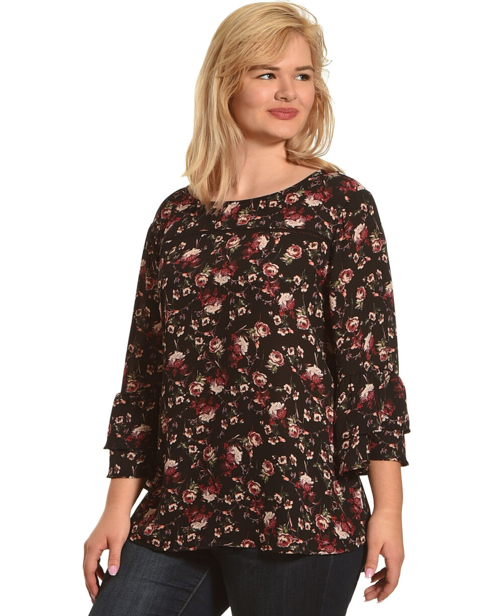 Eyeshadow Women's Floral Long Sleeve Peasant Top - Plus, Black, hi-res