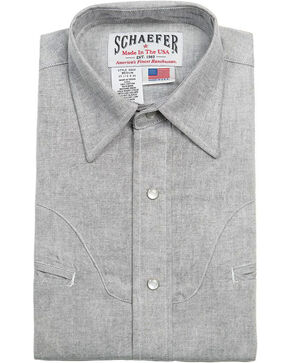 Schaefer Outfitter Men's Graphite Vintage Chisholm Chambray Shirt - Big & Tall, Light Grey, hi-res
