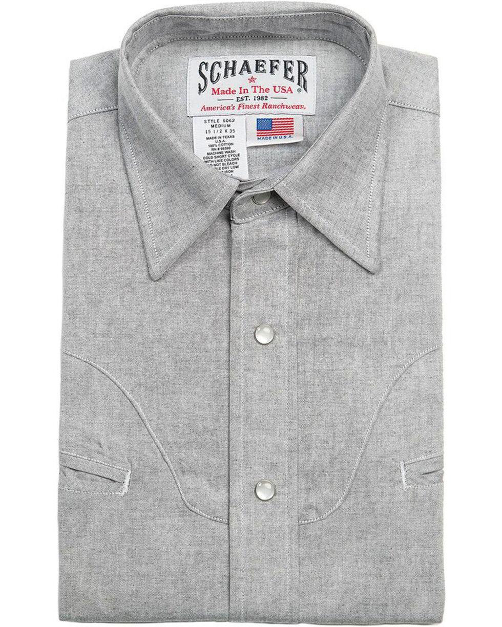 Schaefer Outfitter Men's Graphite Vintage Chisholm Chambray Shirt - Big & Tall, Light Grey, hi-res