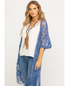 Jody of California Women's Lace Fringe Hem Kimono , Blue, hi-res