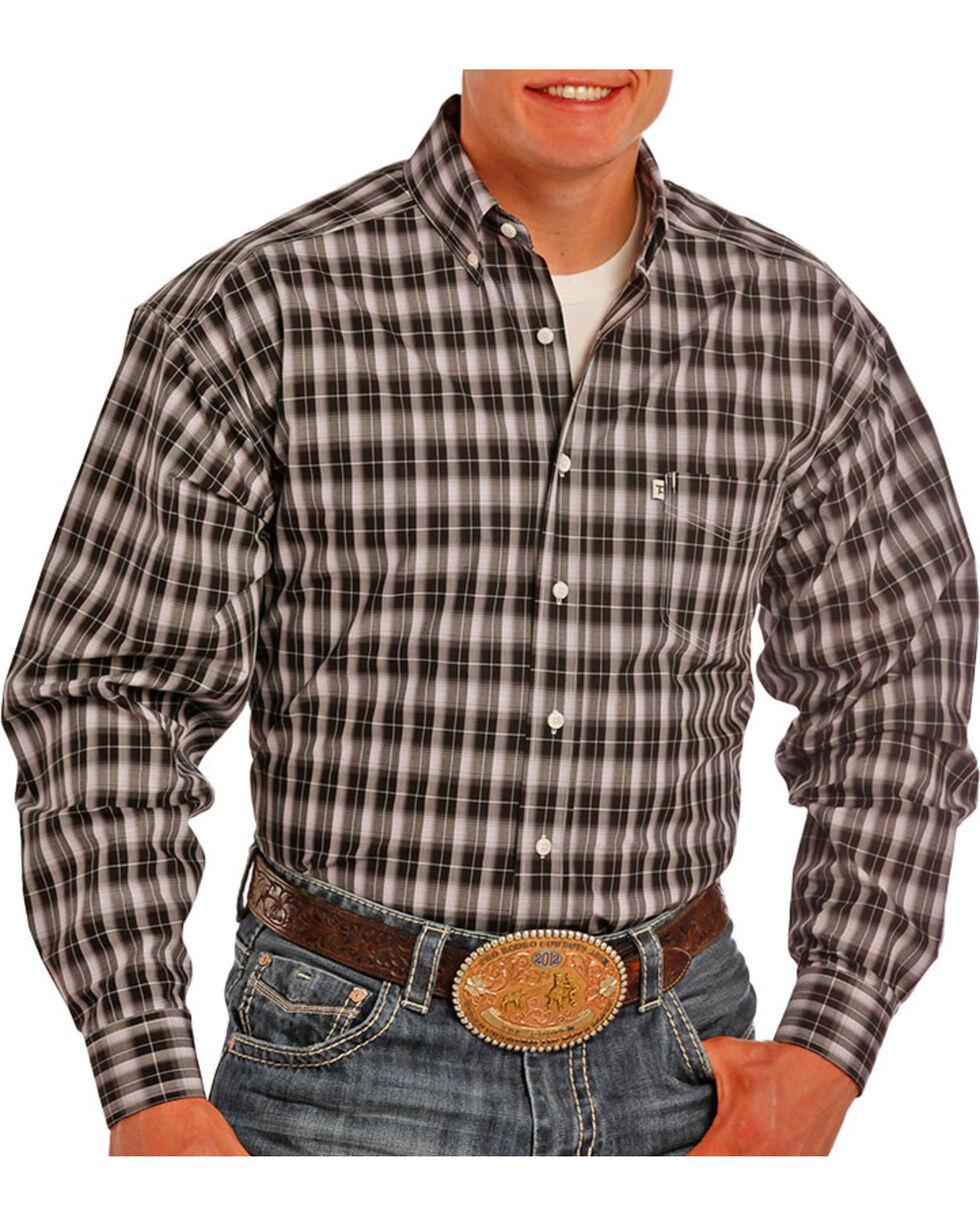 Tuf Cooper by Panhandle Men's Striped Long Sleeve Shirt, Black, hi-res