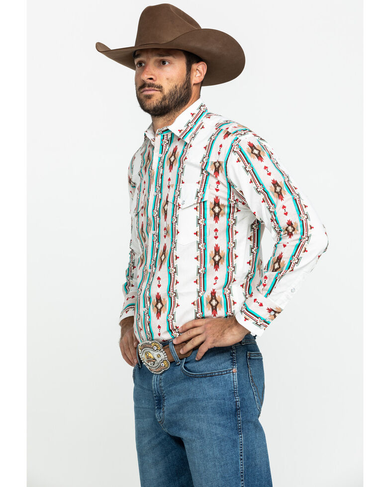 Wrangler Silver Edition Men's Ivory Aztec Checotah Striped Long Sleeve Western Shirt - Big , Ivory, hi-res