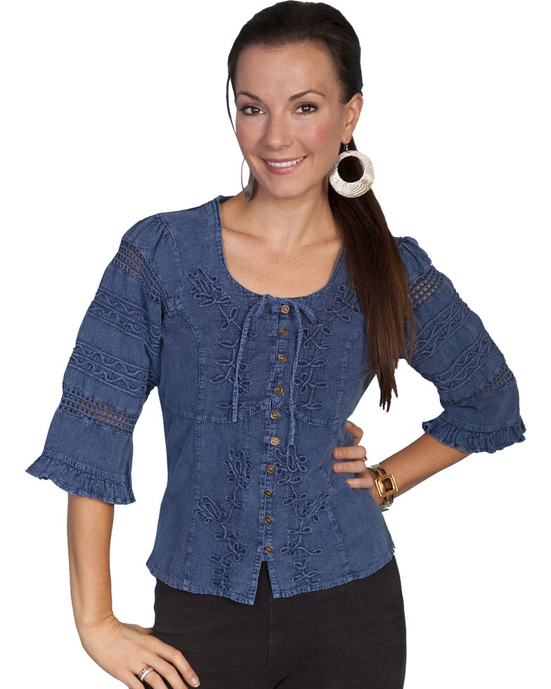 Scully 3/4 Length Sleeve Soutache Top, Dark Blue, hi-res