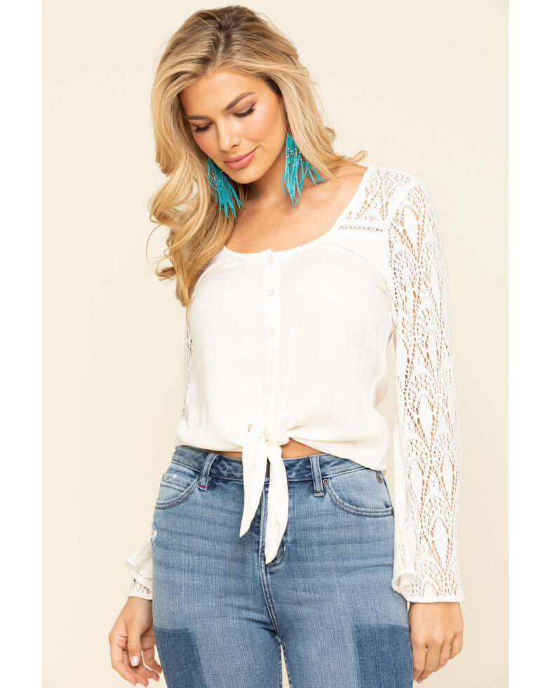 Idyllwind Women's Last Song Tie Front Bell Sleeve Top, Natural, hi-res