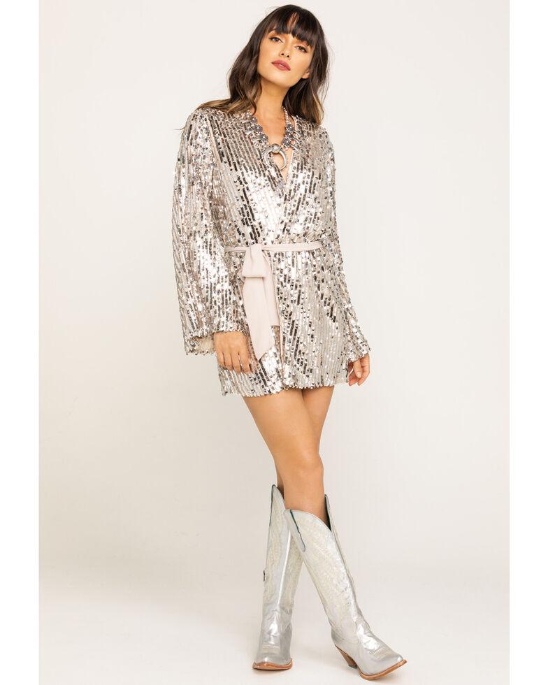 Show Me Your Mumu Women's Sequin Giselle Kimono Dress, Silver, hi-res