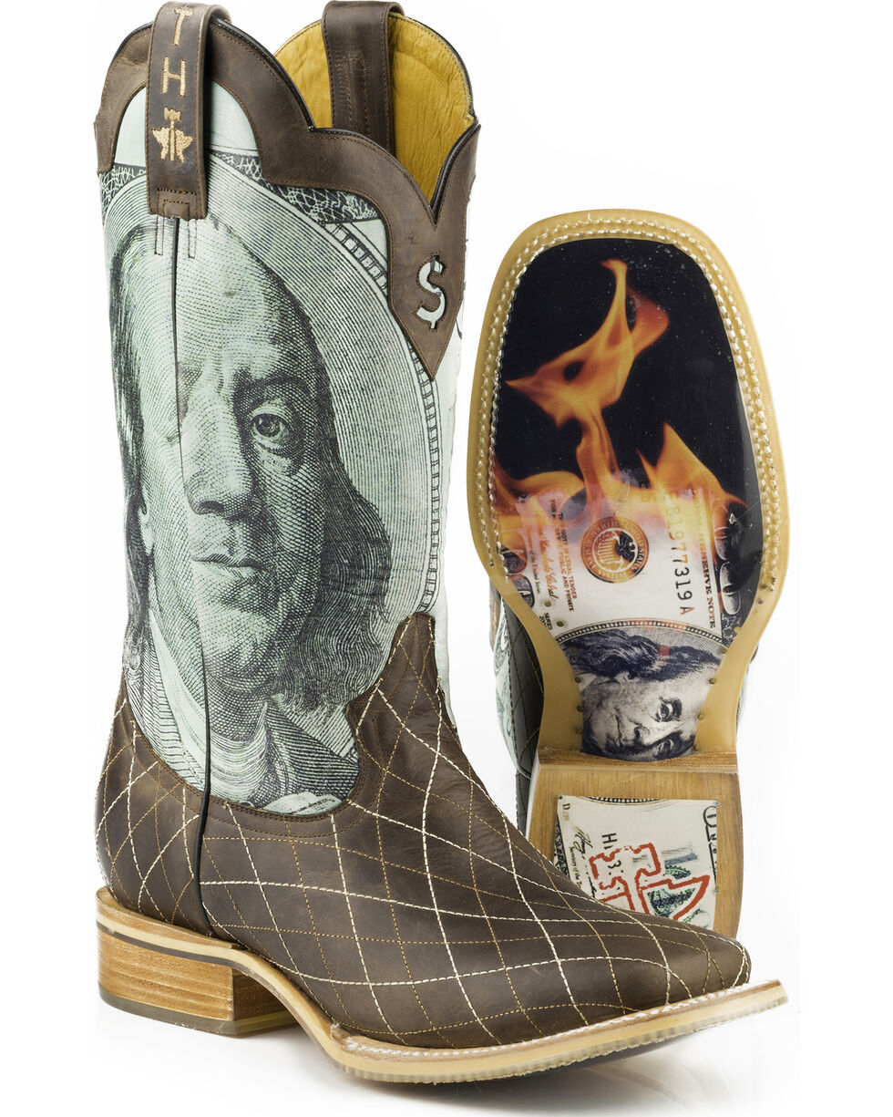 Tin Haul Men's Money to Burn with Hundred Dollar Bill Sole Cowboy Boots - Square Toe, Brown, hi-res