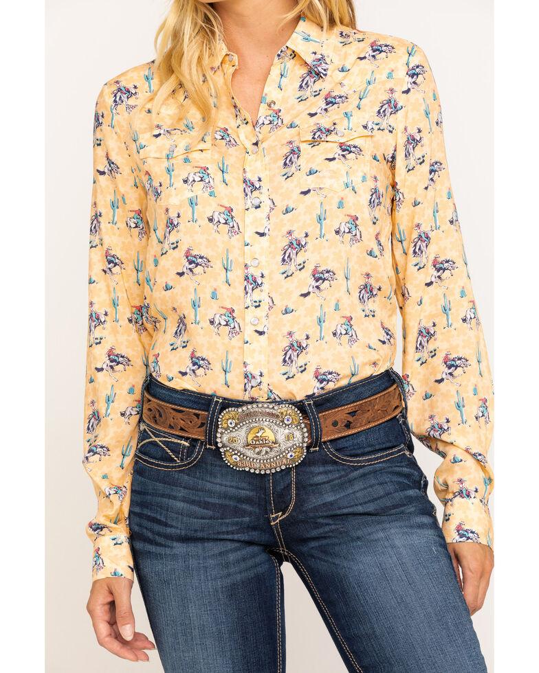 Five Star Women's Yellow Bronco Print Long Sleeve Western Shirt, Yellow, hi-res