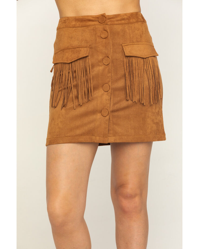Flying Tomato Women's Fringe Pocket Mini Skirt, Camel, hi-res