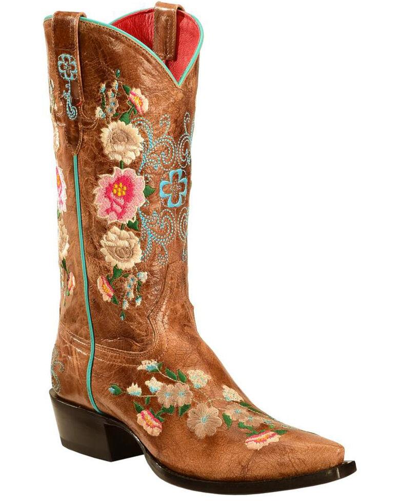 Macie Bean Rose Garden Cowgirl Boots - Snip Toe, Honey, hi-res