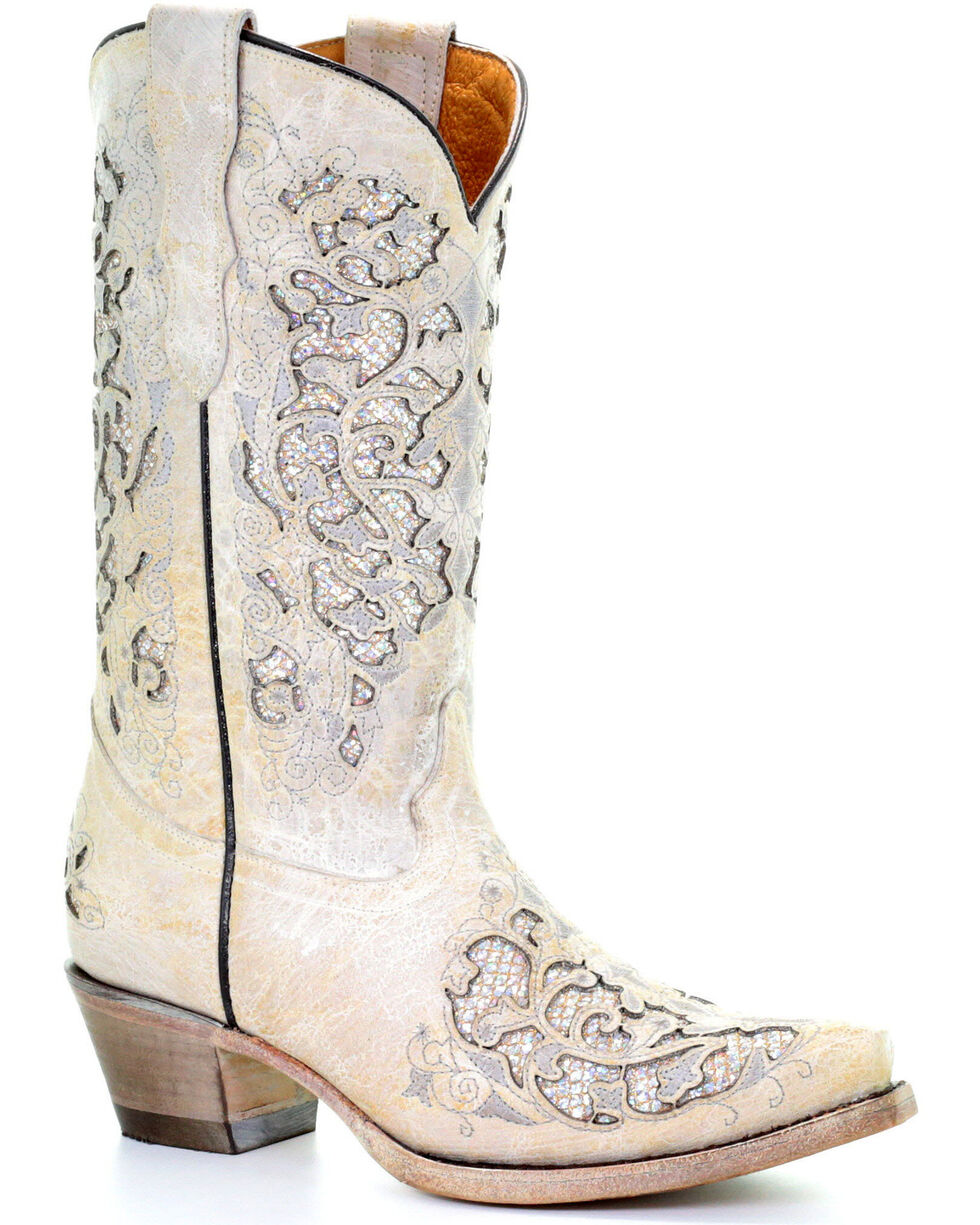 Corral Girls' White Glitter Inlay Boots - Snip Toe, White, hi-res