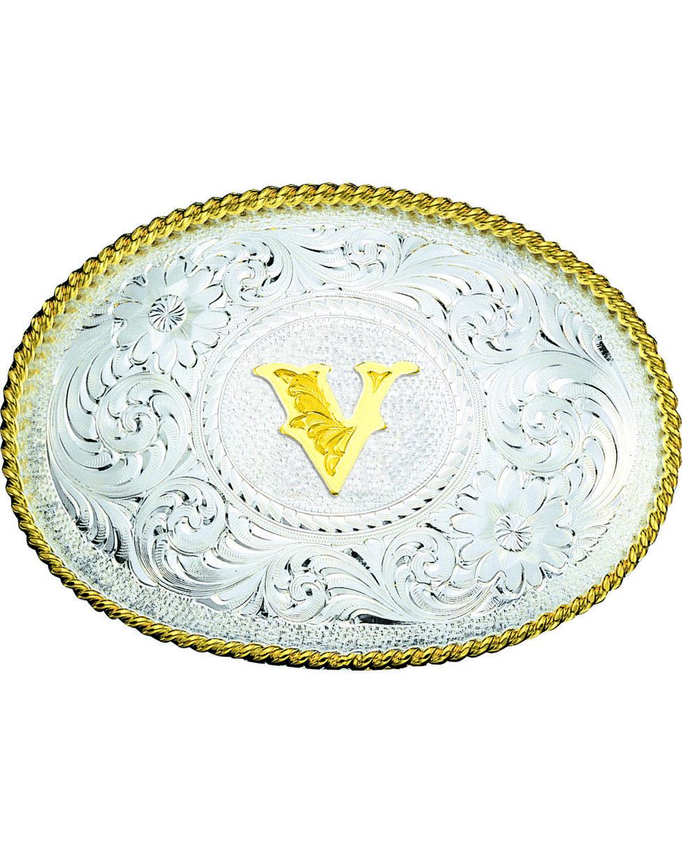 Montana Silversmiths Engraved Initial V Western Belt Buckle, Multi, hi-res