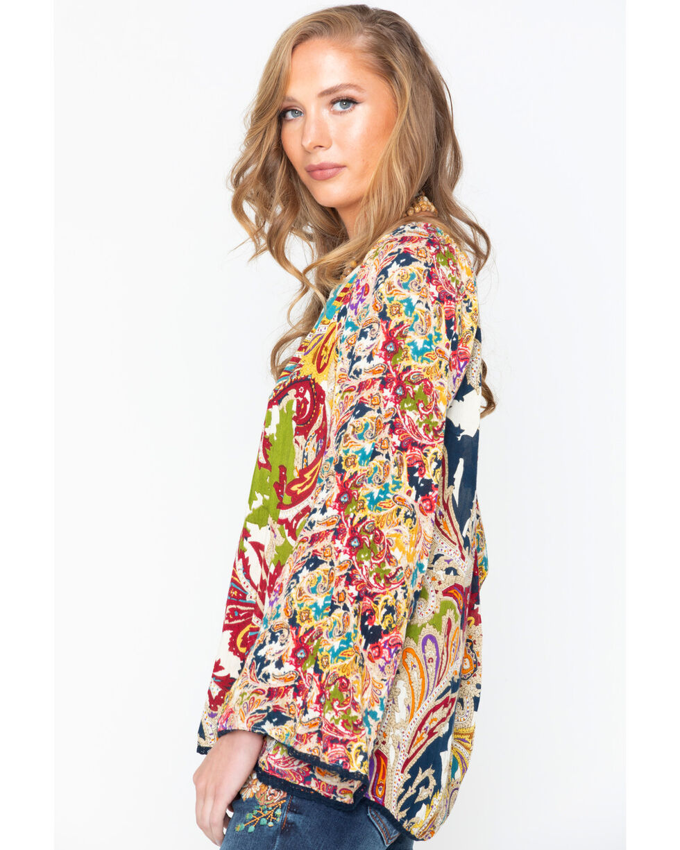 New Direction Sport Women's Paisley Long Sleeve Shirt, Multi, hi-res