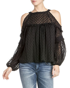 Miss Me Women's Jacquard Dot Top , Black, hi-res