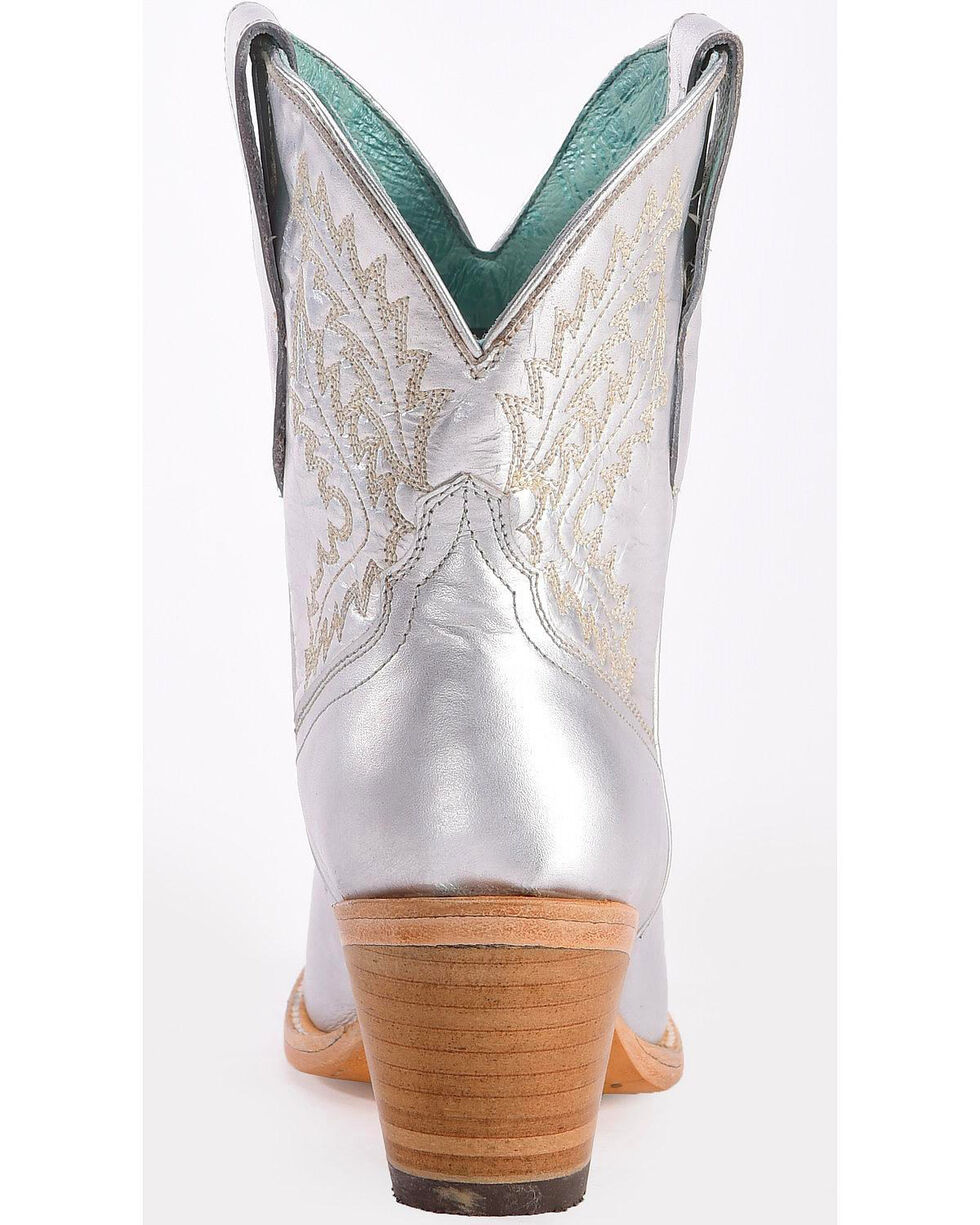 Corral Women's Silver Embroidered Ankle Boots - Pointed Toe, Silver, hi-res