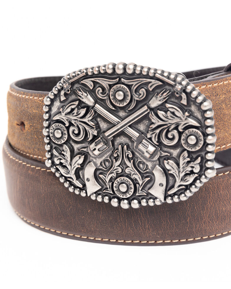 Cody James Boys' Crossed Pistols Leather Western Buckle Belt , Brown, hi-res