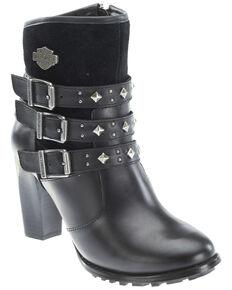 Harley Davidson Women's Abbey Moto Boots - Round Toe, Black, hi-res