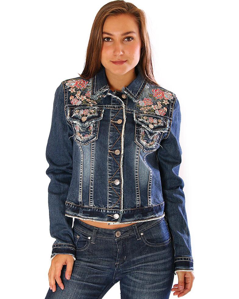 Grace In La Women S Embroidered Jean Jacket Indigo Hi Res