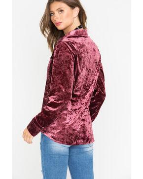 Shyanne Women's Velvet Long Sleeve Button Down Shirt, Mauve, hi-res