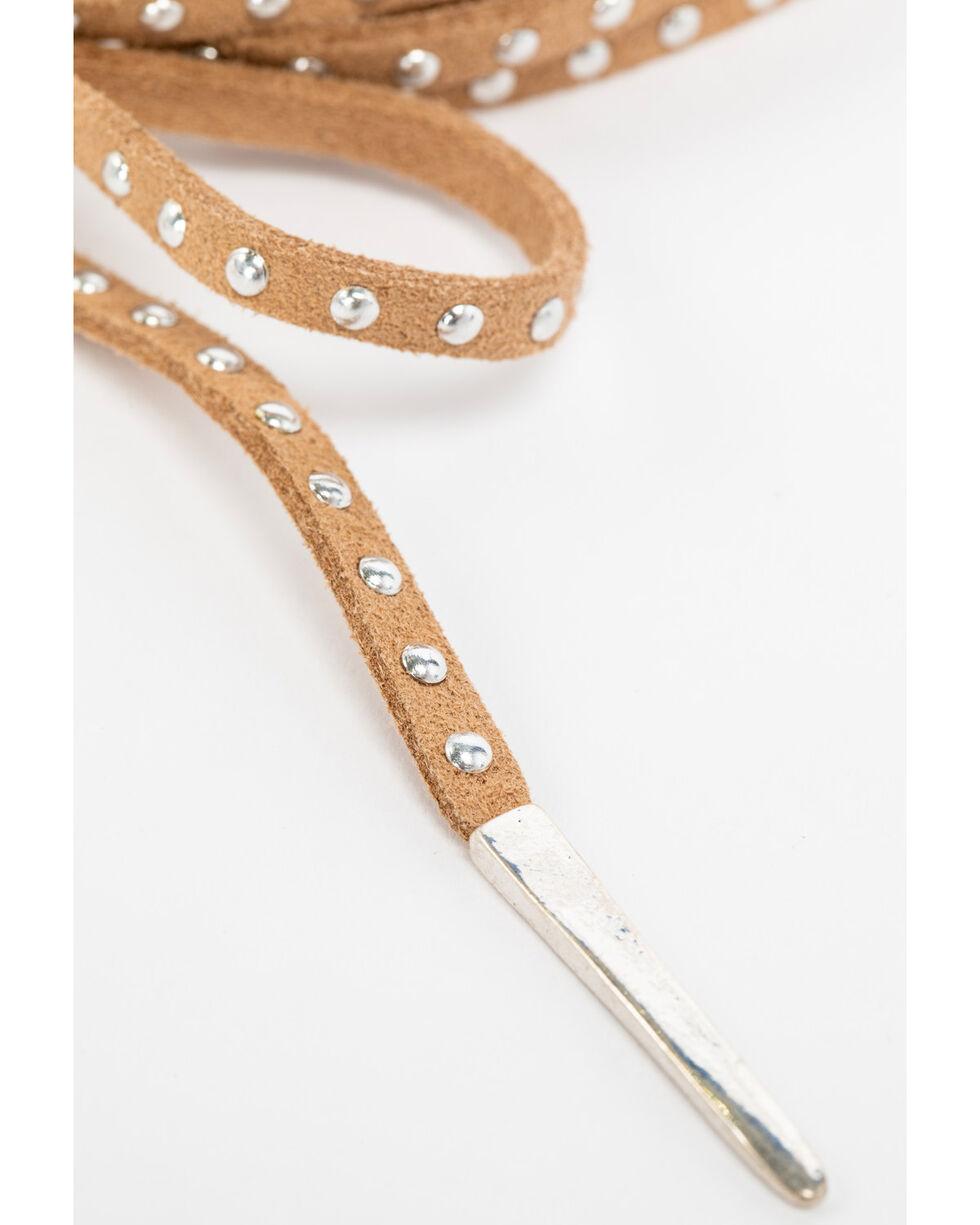 Shyanne Women's Howlite Tan Studded Suede Tie Choker , Silver, hi-res