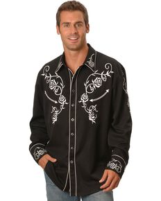 Scully Men's Floral Embroidered Vintage Long Sleeve Western Shirt - Big & Tall, Black, hi-res
