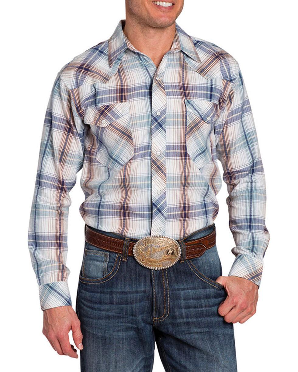 Resistol Double Men's Clearmont Plaid Long Sleeve Shirt, White, hi-res