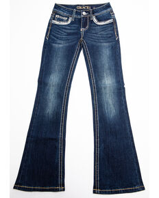 Grace in LA Girls' Bootcut Bling Jeans, Blue, hi-res