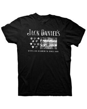 Jack Daniels' Men's American Flag Logo Graphic T-Shirt , Black, hi-res