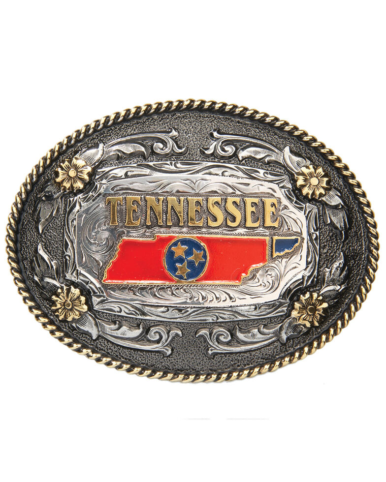 AndWest Oval Rope Edge Tennessee State Buckle, Gold, hi-res