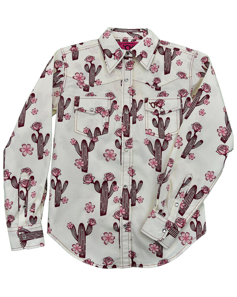 Cowgirl Hardware Girls' Burgundy Floral Cactus Print Long Sleeve Snap Western Shirt , Burgundy, hi-res