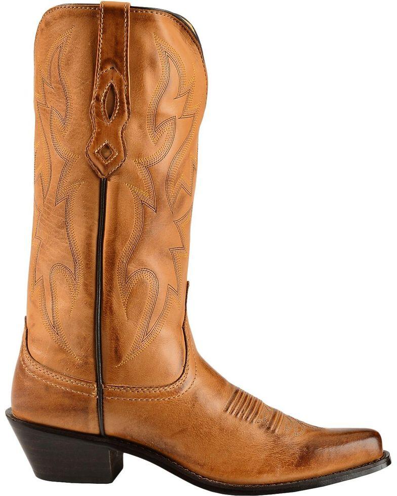 Nocona Women's Deertanned Snip Toe Western Boots, Tan, hi-res