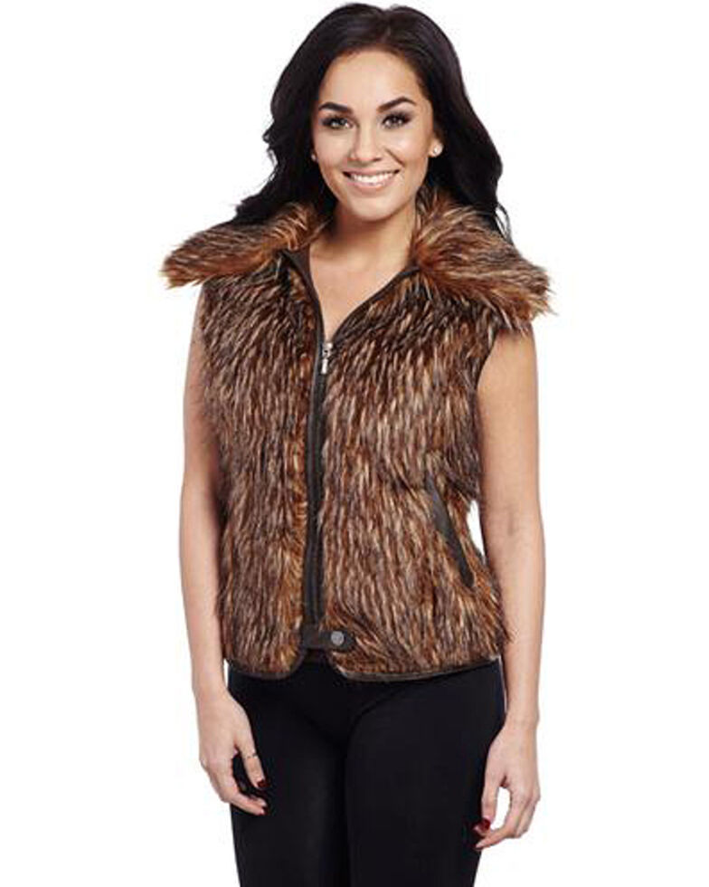 Cripple Creek Women's Faux Fur Vest, Brown, hi-res